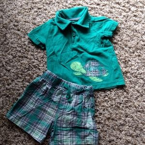 Carter's Turtle Polo and Plaid Shorts Set